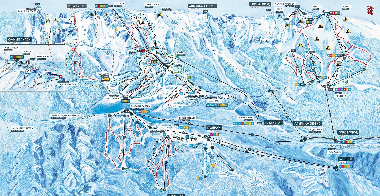 Схема Красная поляна единый ски-пасс
